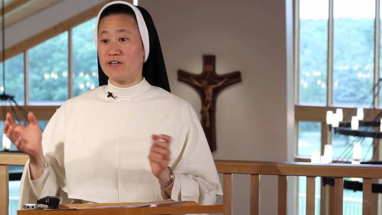 A still from a YouTube video of one of Sister Jane Dominic Laurel's presentations.