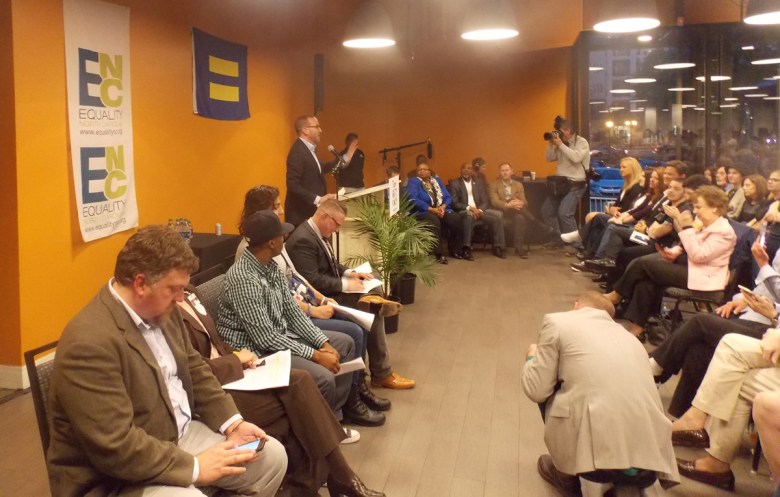 Human Rights Campaign Executive Director Chad Griffin speaks out against HB2 during the TurnOut! NC town hall held on April 14 in Charlotte, N.C.