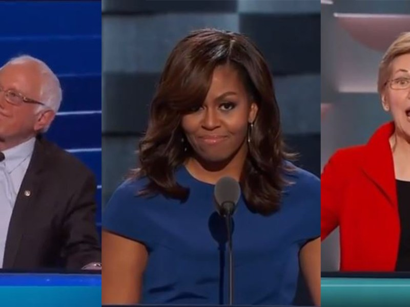 DNC 2016 speech sanders, michelle obama