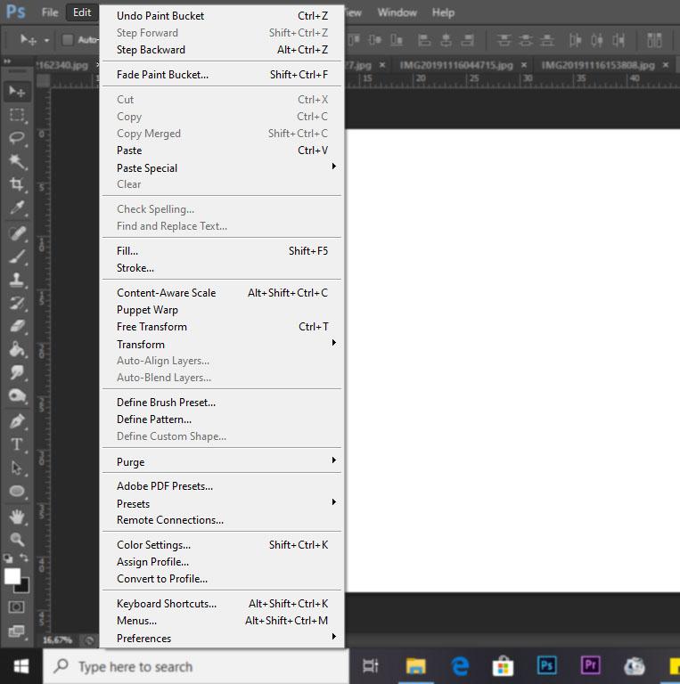 menu edit photoshop
