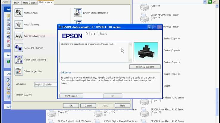 cara cleaning printer epson, tampilan cleaning printer epson