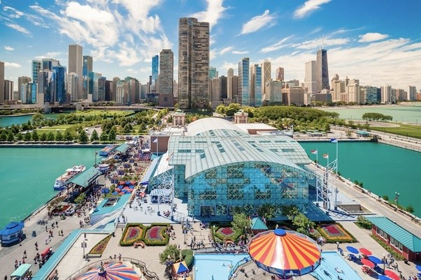 What are the best places to visit in Chicago    Quora CHICAGO  IL   OCT 1  Navy Pier and skyline on October 1  2013 in Chicago   Illinois  It was built in 1916 as 3300 foot pier for tour and excursion  boats and