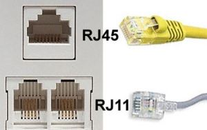 What's the difference between RJ11 and RJ45 ether