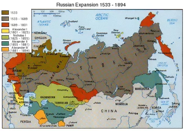If 77  of Russia is in Asia  why is it considered to be a European         lies east of the Ural Mountains Here is a map of Russian expansion from  1533 to 1896  The dark brown spot is the real Russia  almost all in Europe