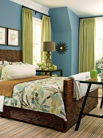 colored curtains go with green walls