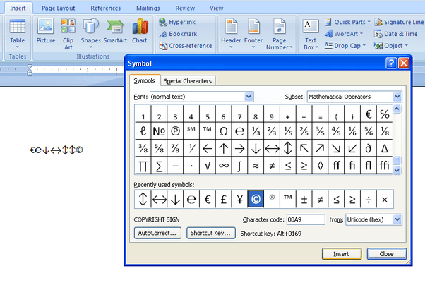 O C Microsoft Word Symbol