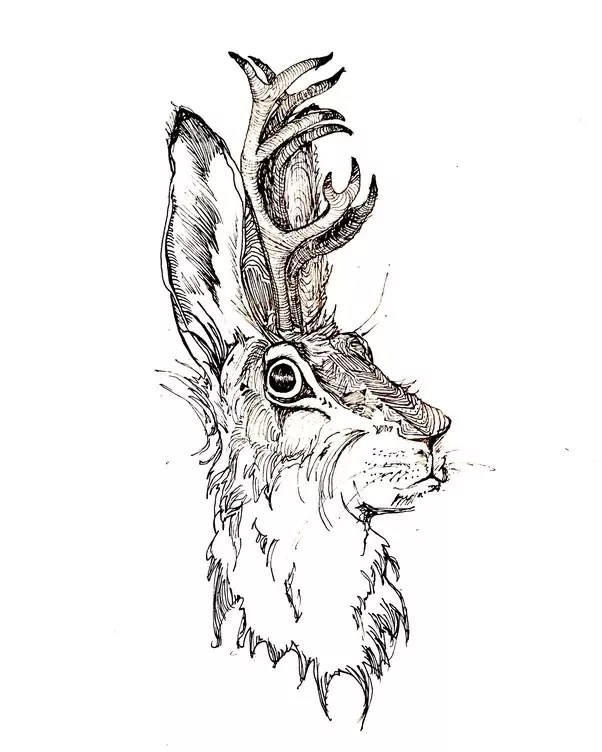 Drawing Sketch Style Illustration Of A Wolpertinger In Bavarian