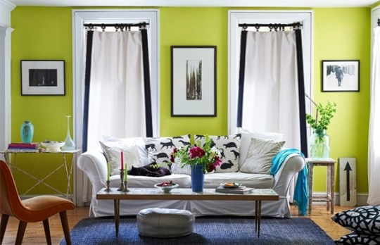 Interior Design  Do black eyelet curtains match with lime green     As you have a preference for black colour  you can use it  but only as  borders  and not as the full body of the curtain