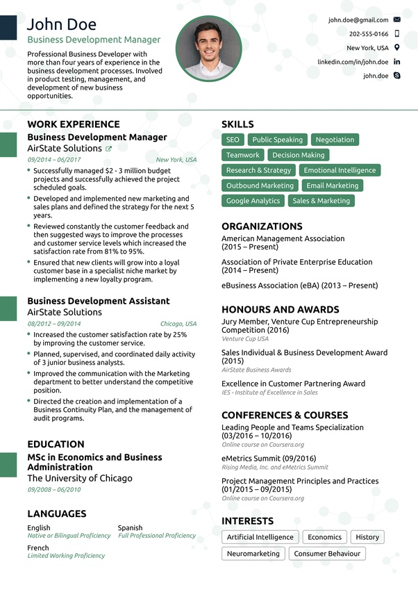 What Does An Ideal One Page Resume Look Like Quora