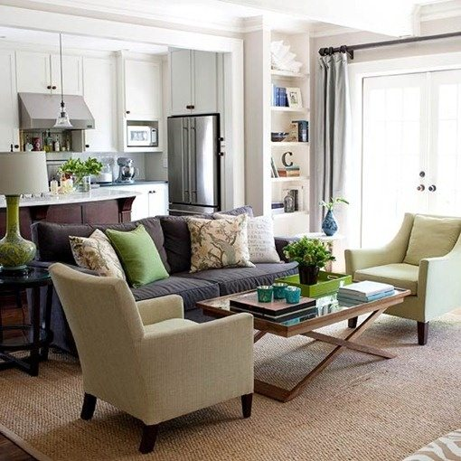 How to decorate a brown sofa and dark flooring   Quora Notice in this living room example that the light tan rug helps provide  separation and texture to this living room  The open windows and white  walls keeps