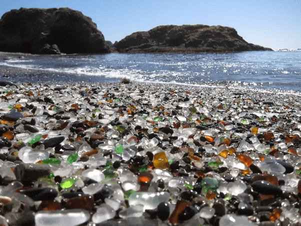 What are some places to visit in the countryside within a 6 8 hours     Glass Beach  It s in Fort Bragg and its a beach made entirely of broken  glass that has been smoothed over
