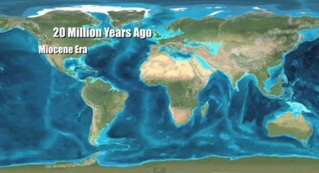 What happened 20 million years ago    Quora The map above shows Earth as it was 20 million years ago  As you can see   the land bridge between central and south America had not formed yet