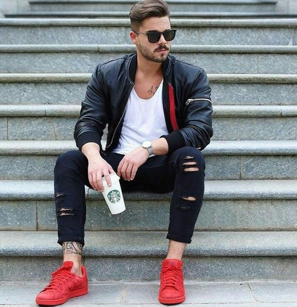 Picture Shorts And Red Shirt Black Shoes Red Black Socks And And Red