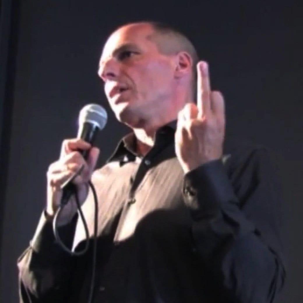 Bildschirmfoto Yanis Varoufakis mit Stinkefinger Jauch Sendung der Versuch einer Demontage