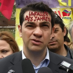 Alexis Tsipras Parteifuehrer SYRIZA Umfaller des Jahres Griechenland Aufruhr Revolution Branding qpress