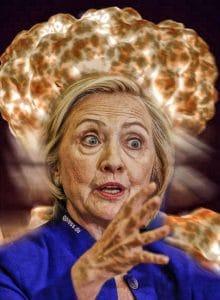 Hillary Clinton atomic explosion irre verwirrt krank machtbesessen praesidentin der USA nukleare vergeltung