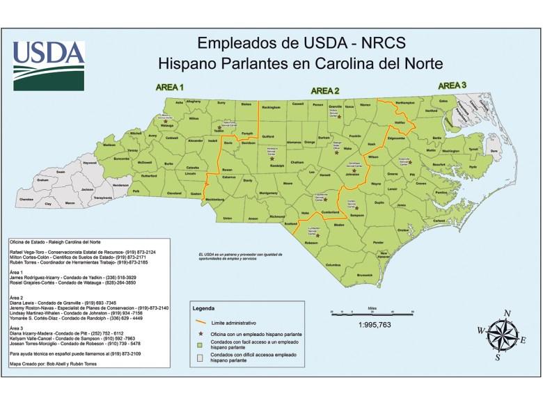 En alrededor de 80 condados de Carolina del Norte  un profesional hispanohablante de NRCS puede brindar soporte personalizado a los granjeros con celeridad,