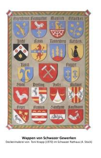 Wappen am Plafond des Rathauses