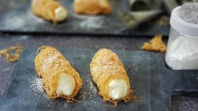 """صورة وصفة دلال من مطبخ تنوفا: لفّات شعيرية حلوة """"كدايف"""" بحشوة كريم ڤـانيل مجمد"""