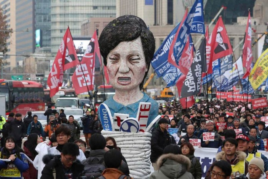 A protest rally by the South Korean people.