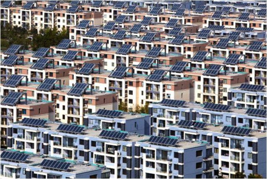 Solar panel equiped row houses