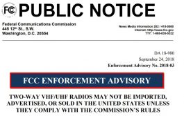 FCC ENFORCEMENT ADVISORY – [ Two-way VHF / UHF radios ]