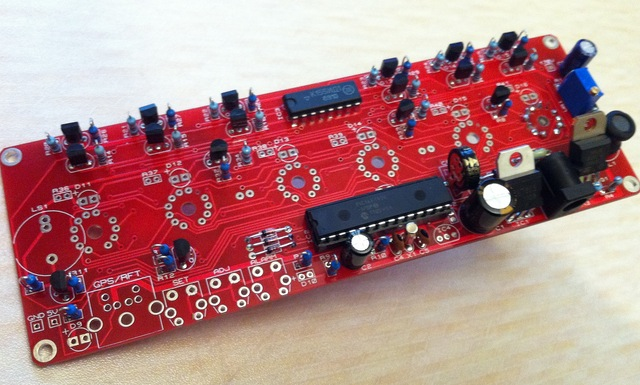 The board with all the components fitted