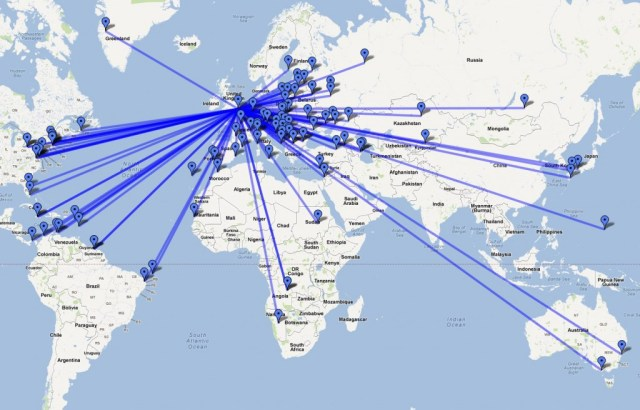 Map of stations worked during CQ WW WPX CW 2012
