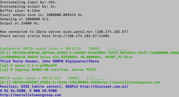 Initial test of the RPi and RTL-SDR Dongle APRS RX only iGate using Raspbian Stretch