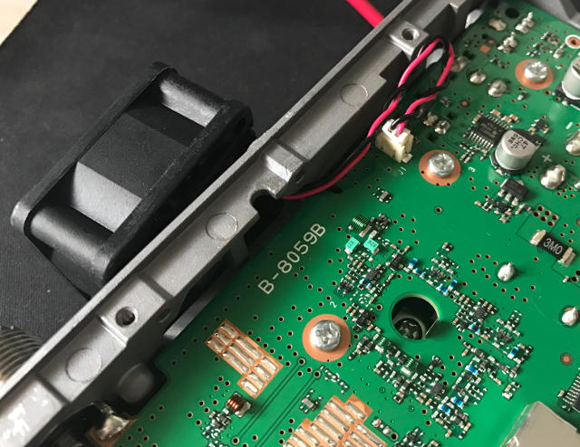 Inside of the ID-5100 showing the fan connection