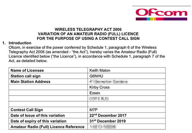 Notice of Variation for M7P