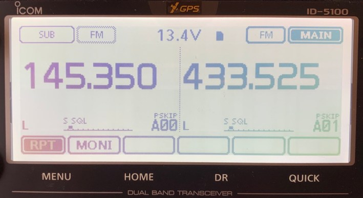 Icom ID-5100E in cross band repeater mode
