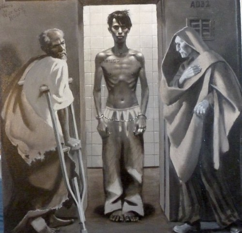 """Emanuel with Job and Isaiah (The Passion of Christ: A Gay Vision II"" by Doug Blanchard"