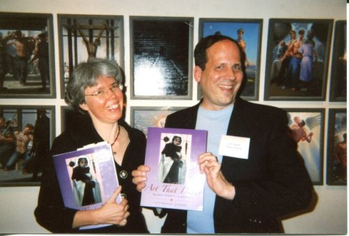 Kittredge Cherry and Doug Blanchard at gay Passion of Christ exhibit in Taos, 2007