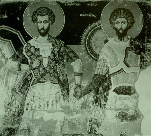 Saints Theodore holding hands