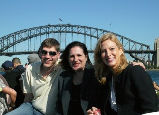 Q Symposium participants Stefan Elbe, University of Sussex; Katina Michael, University of Wollongong; and Toni Erskine, UNSW-Canberra; heading to the conference site from the Sydney Harbour on the ferry.
