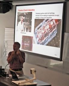 Stephen Bartlett presentation on Quantum research. Photo: Gilbert Bel-Bachir.