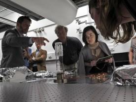 Biercuk explains artefact. Photo: Gilbert Bel-Bachir.