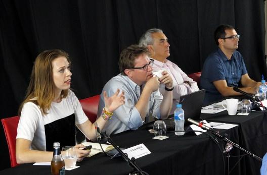 "4th panel, ""Quantum Metaphysics"": Speakers are artist Alexa Meade, Christopher Fuchs (UMass, Boston), John Phillip Santos (U. of Texas, San Antonio). Jairus Grove moderates the panel. Photo: Gilbert Bel-Bachir."