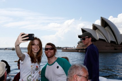 Alexa Meade and Chris Hughes taking a selfie with the Sydney Opera House. Photo: Gilbert Bel-Bachir.