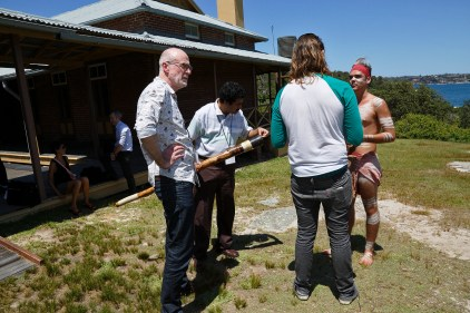 Q3 participants talking to Matthew and Brock about Australian Aboriginal traditions. Photo: Gilbert Bel-Bachir.
