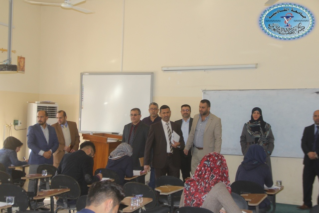 زيارة اللجنة المركزية الخاصة لسير الامتحانات من قبل رئاسة جامعة القادسية إلى كلية الطب البيطري
