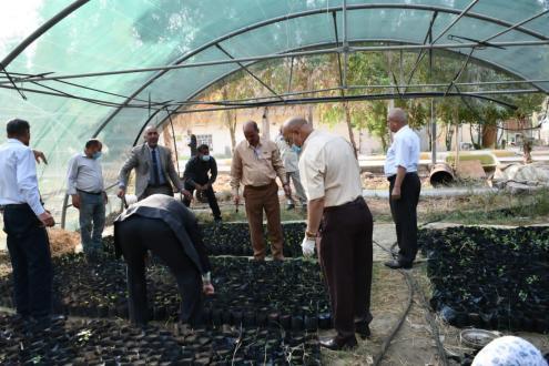 """منتسبوا كلية الزراعة بجامعة القادسية يبادرون بزراعة """"٢٠٠٠ """" شتلة"""