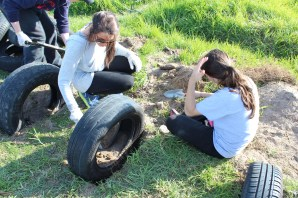 Larisa & Emily working on the tires.