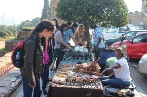 Shopping at the vendors outside the Union Building in Pretoria.