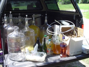 Some of the homemade wine that authorities say they confiscated at Peden's residence.