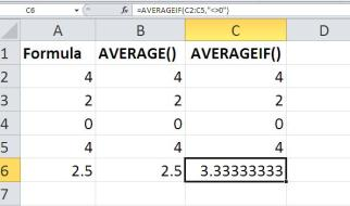 An alternative Excel averaging formula that doesn't evaluate zero