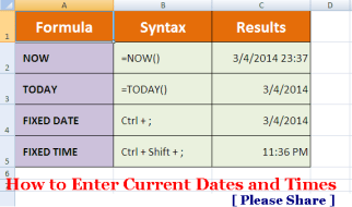 How to enter Current Dates and Times in Excel