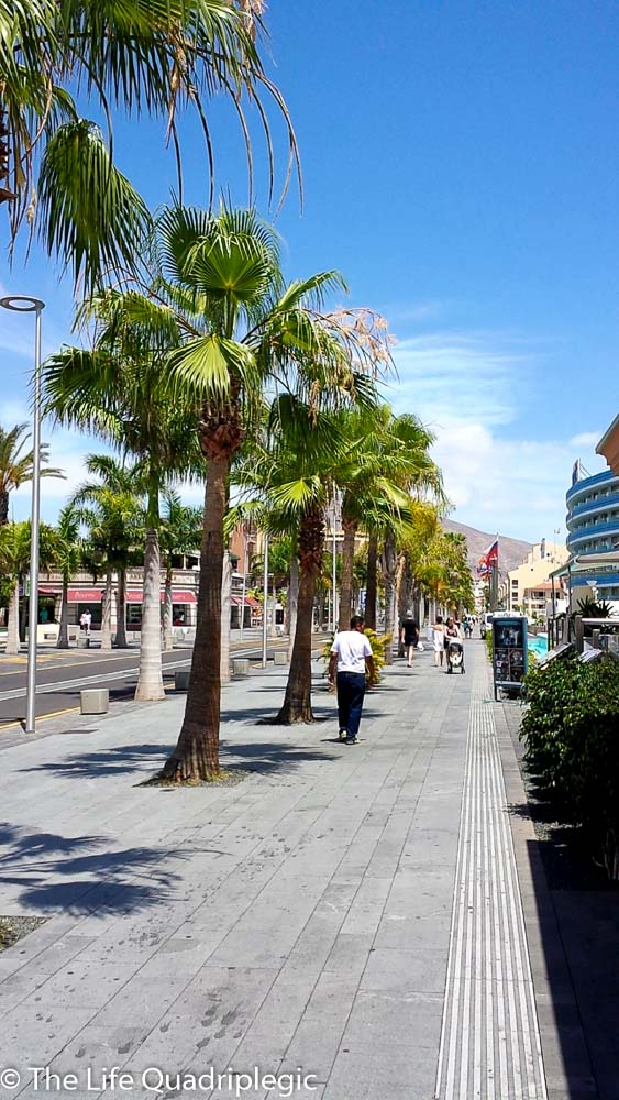 A very wide pavement on the side of the road with a line of palm trees running along it. A man walks away from the camera.