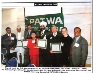 Prema Cooray winning the PATWA Green Award 2000 in London,